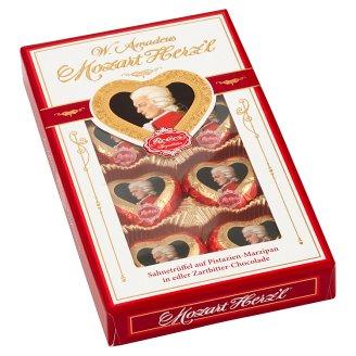 Reber Mozart Herz'l praliné étcsokoládéban, pisztácia-marcipánnal és trüffel töltelékkel 80 g