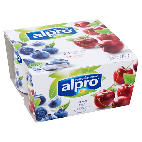 Alpro Blueberry and Cherry Flavoured Soy Product 4 x 125 g