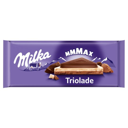 Milka Triolade Alpine Milk Chocolate with White Chocolate and High Cocoa Content Chocolate 280 g