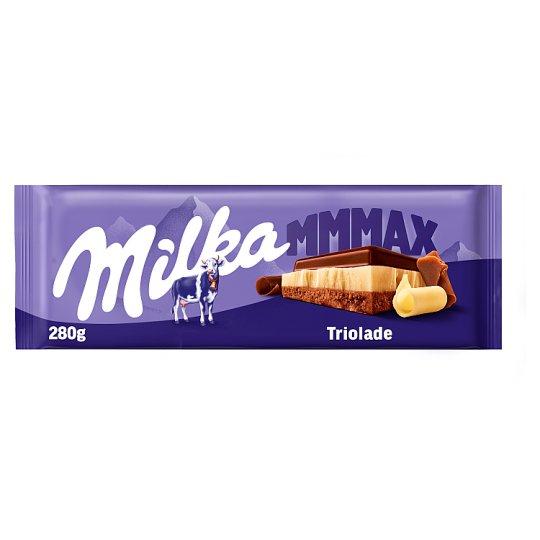 Milka Triolade alpesi tejcsokoládé fehércsokoládéval és magas kakaótartalmú tejcsokoládéval 280 g
