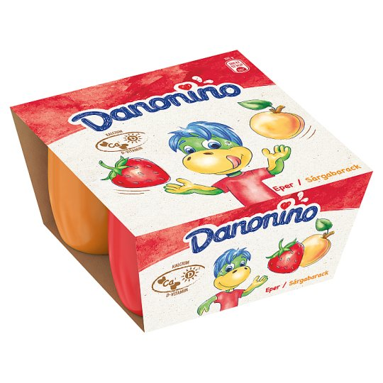 Danone Danonino Strawberry and Apricot Flavoured Milk Product with Calcium and Vitamin D 4 x 50 g