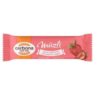 Cerbona Strawberry-Yoghurt Cereal Bar with Sugar and Sweetener in Strawberry Coating 20 g