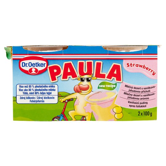Dr. Oetker Paula Vanilla Flavoured Pudding With Strawberry Flavoured Pudding 2 x 100 g