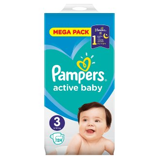 Pampers Active Baby, 3-as Méret, 124 db Pelenka, 6–10 kg