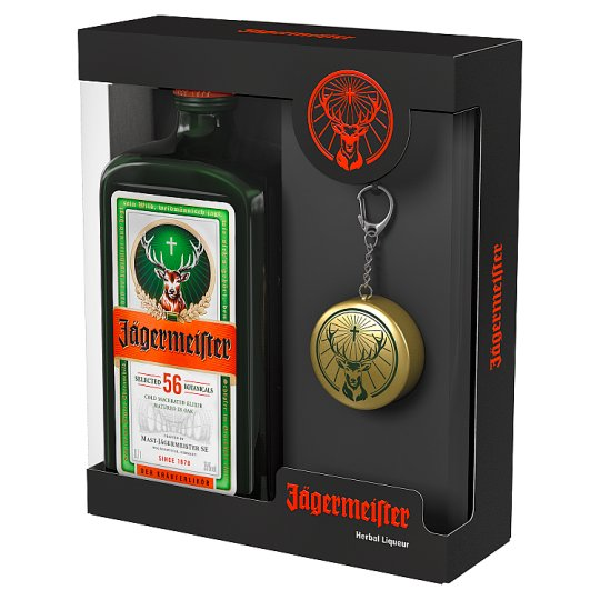 Jägermeister Bitter Liqueur in Gift Box with Key Holder Glass 35% 0,7 l