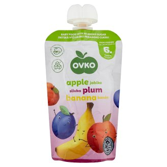 Ovko Gluten-Free Apple-Plum-Banana Baby Dessert without Added Sugar 6+ Months 120 g