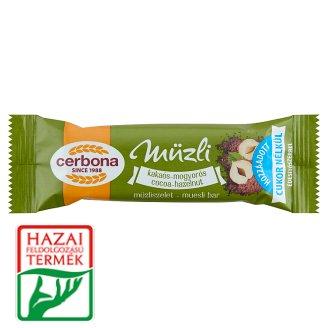 Cerbona kakaós-mogyorós müzliszelet cukor hozzáadása nélkül, édesítőszerrel 20 g