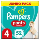 Pampers Pants Size 4, 52 Nappies, 8-14kg, Absorbing Channels