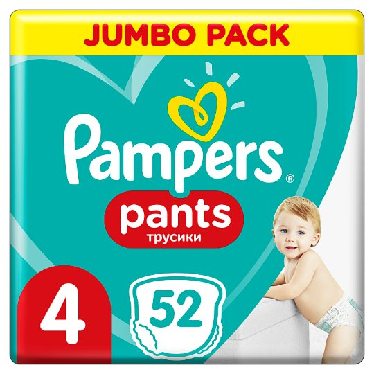 Pampers Pants Size 4, 52 Nappies, 9-15kg, Absorbing Channels