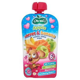 Ovko Gluten-Free Apple-Carrot-Banana Baby Dessert without Added Sugar 6+ Months 120 g
