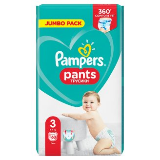 Pampers Pants Size 3, 60 Nappies, 6-11kg, Absorbing Channels