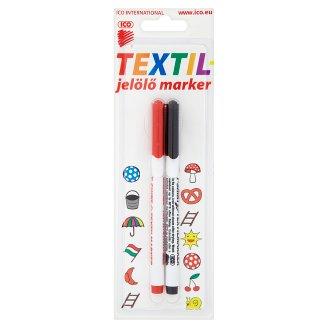ICO Red & Black Textile Marker 2 pcs