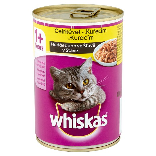 Whiskas 1+ Complete Pet Food for Adult Cats with Chicken in Sauce 400 g