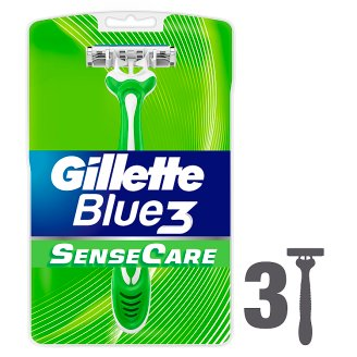 Gillette Blue3 Sensitive Men's Disposable Razors, 3 Pack