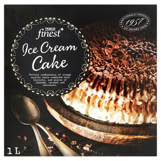 Tesco Finest vanília- és karamellízű jégkrém mandulás-vajkaramellás darabkákkal 1 l