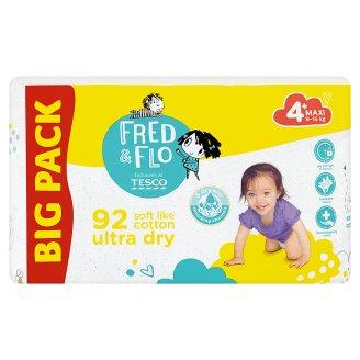 Tesco Fred & Flo Ultra Dry 4+ Maxi 9-16 kg Nappies 92 pcs