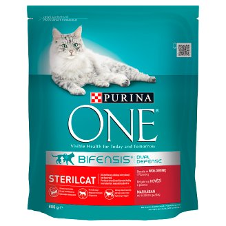 Purina One Sterilcat Dry Cat Food Rich in Beef and Wheat 800 g