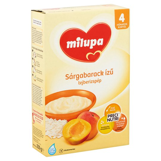 Milupa sárgabarack ízű tejberizspép 4 hónapos kortól 250 g