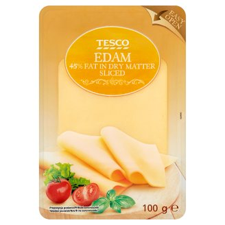 Tesco Fat, Semi-Hard, Sliced Edam Cheese 100 g