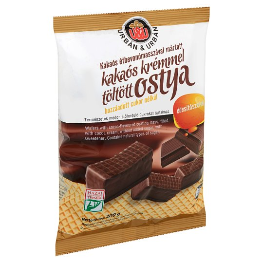 Urbán Cocoa Cream Filled Wafers without Added-Sugar 200 g