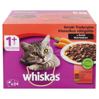 Whiskas 1+ Húsos-Zöldséges Válogatás teljes értékű állateledel felnőtt macskák számára 24 x 100 g