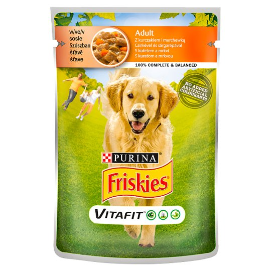 Friskies Vitafit Complete Pet Food for Adult Dogs with Chicken, Carrot in Sauce 100 g