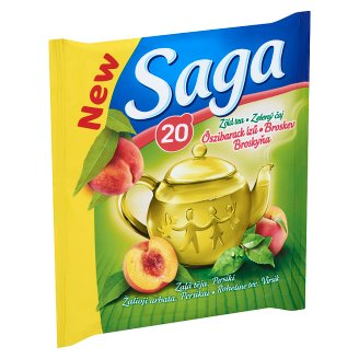 Saga Peach Green Tea 20 Tea Bags