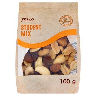 Tesco Student Mix pörkölt, sótlan földimogyoró, mazsola, kesudió és mogyoró keveréke 100 g