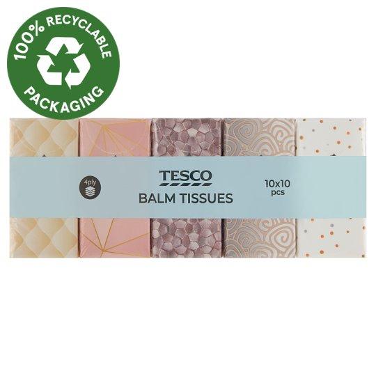 Tesco Balm Tissues 4 Ply 10 x 10 pcs