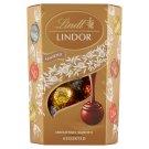 Lindt Lindor tejcsokoládé-tejcsokoládé mogyoródarabokkal-fehércsokoládé-étcsokoládé pralinék 200 g