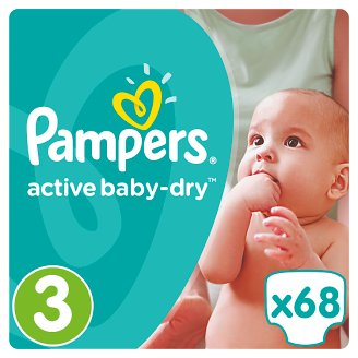 Pampers Active Baby-Dry Size 3 (Midi) 5-9 kg, 68 Nappies