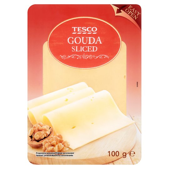 Tesco Fat, Semi-Hard, Sliced Gouda Cheese 100 g