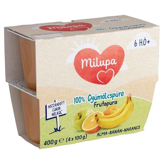Milupa Frutapura alma-banán-narancs gyümölcspüré 6 hó+ 4 db 400 g