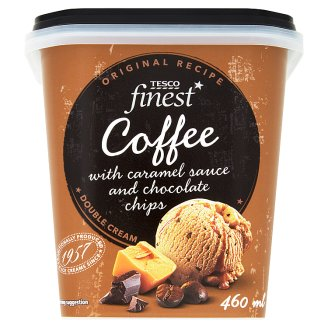 Tesco Finest kávéízű tejes jégkrém karamellöntettel és csokoládédarabkákkal 460 ml
