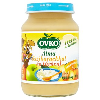 Ovko Apple with Peach and Cottage Cheese Dessert Containing Gluten for Babies 5+ Months 190 g