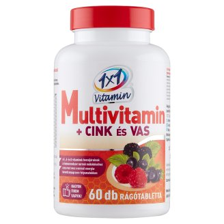 1x1 Vitaday Multivitamin + Zinc and Iron Forest Fruit Flavoured Supplement Tablets 60 pcs 60 g