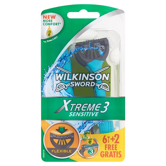 Wilkinson Sword Xtreme3 Sensitive Disposable Razor with 3 Blades and a Lubricant Strip 8 pcs