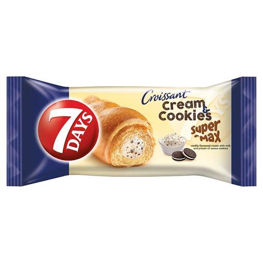 7DAYS Cream & Cookies Super Max vanília ízű krémmel töltött croissant kakaós keksz darabokkal 110 g