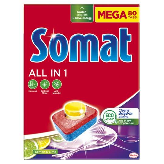 Somat All in 1 8 Actions Lemon & Lime Dishwasher Tabs 80 pcs 1440 g