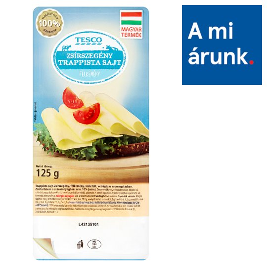 Tesco Sliced Light Trappist Cheese 125 g