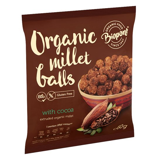 Biopont Organic Gluten-Free Extruded Millet Balls with Cocoa 60 g