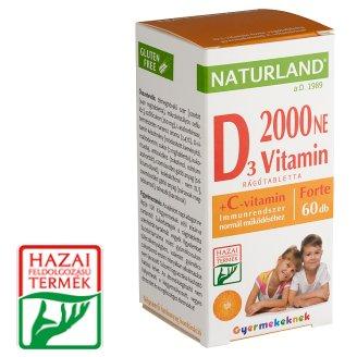 Naturland Premium 2000 NE Vitamin D3 Forte Chew Tablets with Vitamin C for Kids 60 pcs 53,40 g