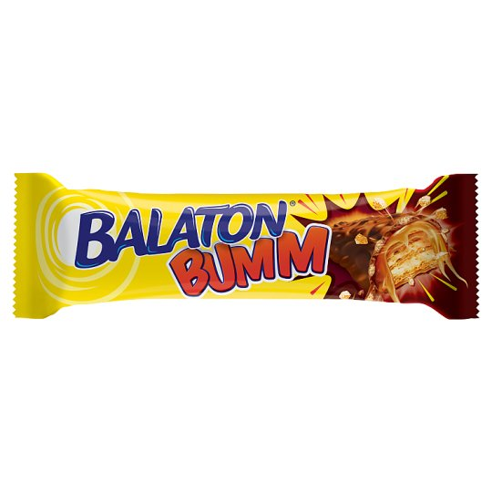 Balaton Bumm Wafer Bar Coated in Cocoa Milk Paste, Filled with Caramel, and Wheat Flake 42 g