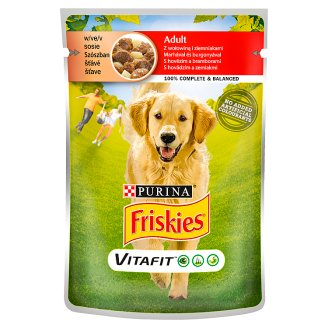 Friskies Vitafit Complete Pet Food for Adult Dogs with Beef and Potato in Sauce 100 g