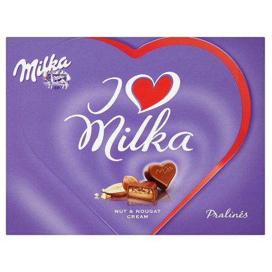 Milka I Love Milka Alpine Milk Chocolate Pralines with Almond Filling and Nut Pieces 110 g