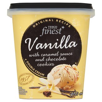 Tesco Finest Vanilla Ice Cream with Caramel Sauce and Chocolate Cookies 460 ml