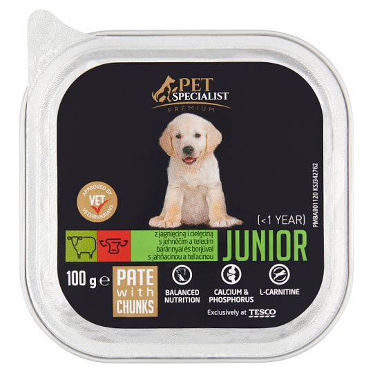 Tesco Pet Specialist Premium Junior Complete Pate with Chunks with Lamb and Calf 100 g