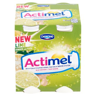 Danone Actimel Low-Fat Lime-Yuzu-Ginger Flavoured Yoghurt Drink with Live Culture 4 x 100 g