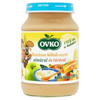 Ovko Banana Dessert for Babies with Apple and Cottage Cheese Containing Gluten 5+ Months 190 g
