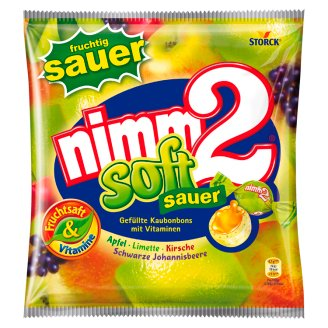 nimm2 Soft Sour Filled Chewy Candies with Fruit Juice and Vitamins 90 g